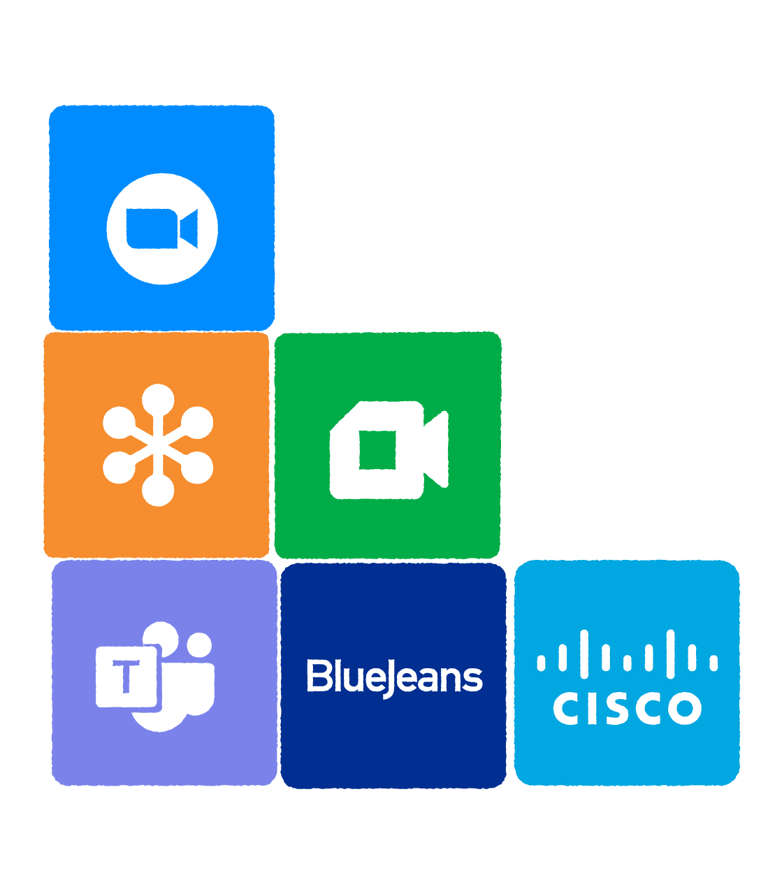 Connect to any app, including Teams, Bluejeans, Cisco, Google Meet, Go to meeting and Zoom
