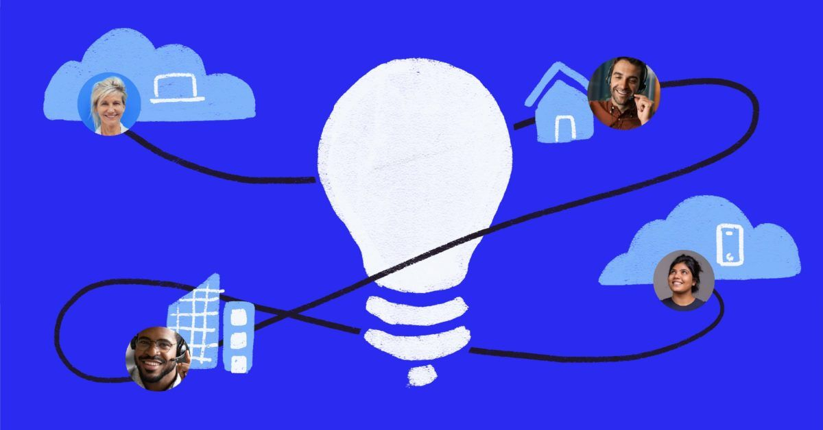 Lightbulb illustration surrounded by people in various hybrid work environments
